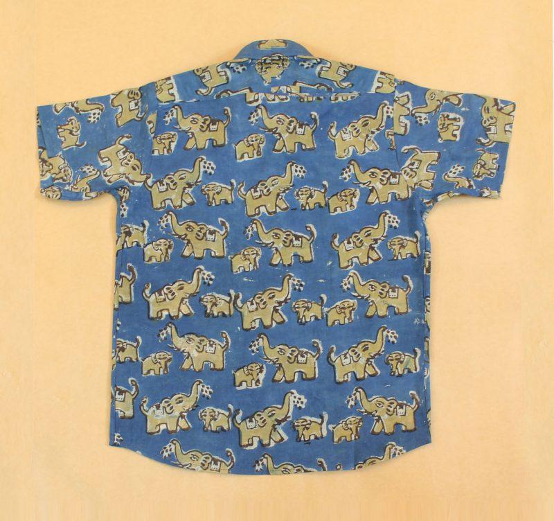 BSH02 Yellow Elephant Indigo shirt back 02