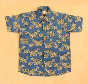 BSH02 Yellow Elephant Indigo shirt front 01