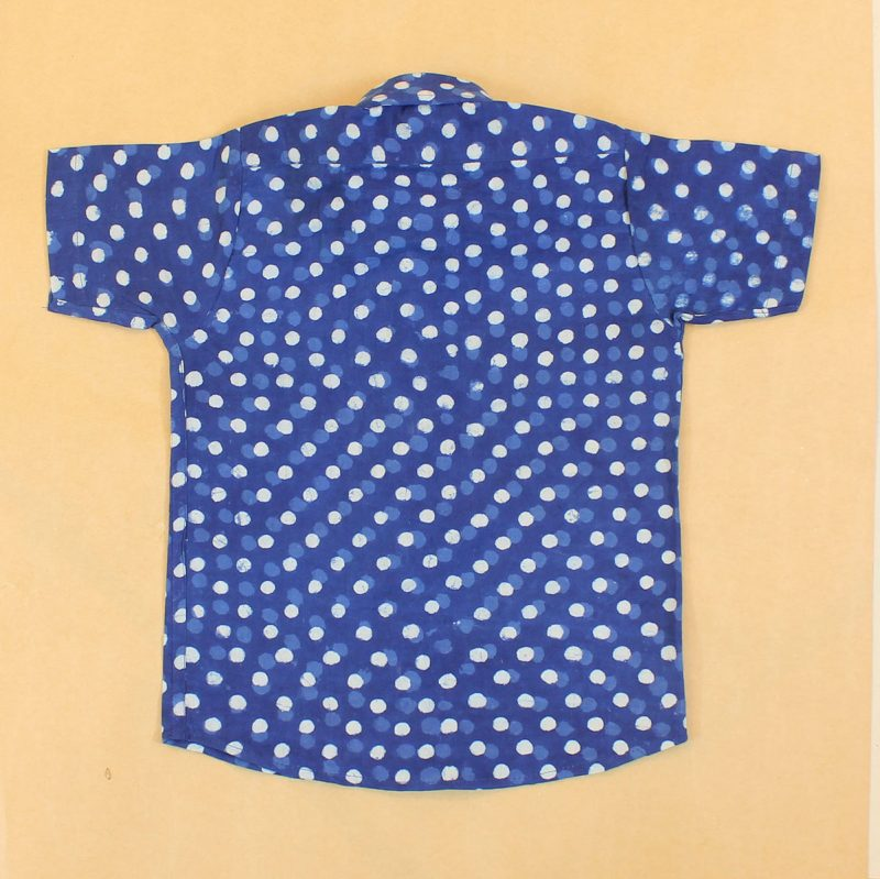 BSH10 Indigo Small Bubbles shirt Back 02