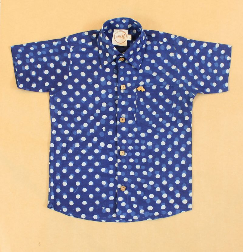 BSH10 Indigo Small Bubbles shirt front 01