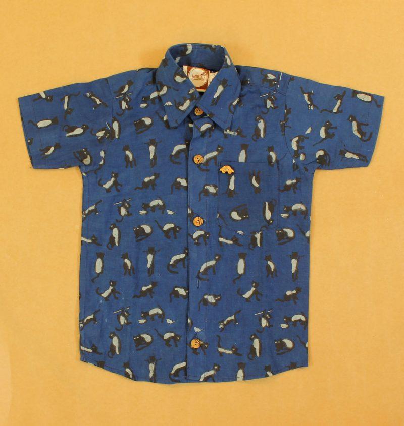 BSH14 Blue Cat shirt Front 01