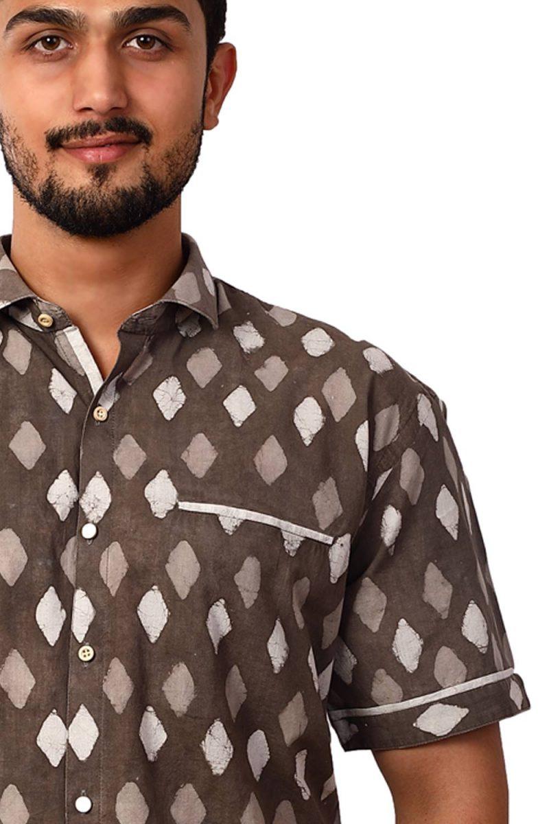 EARTHLIKE MSH Dabu Kashish Diamond Half shirt