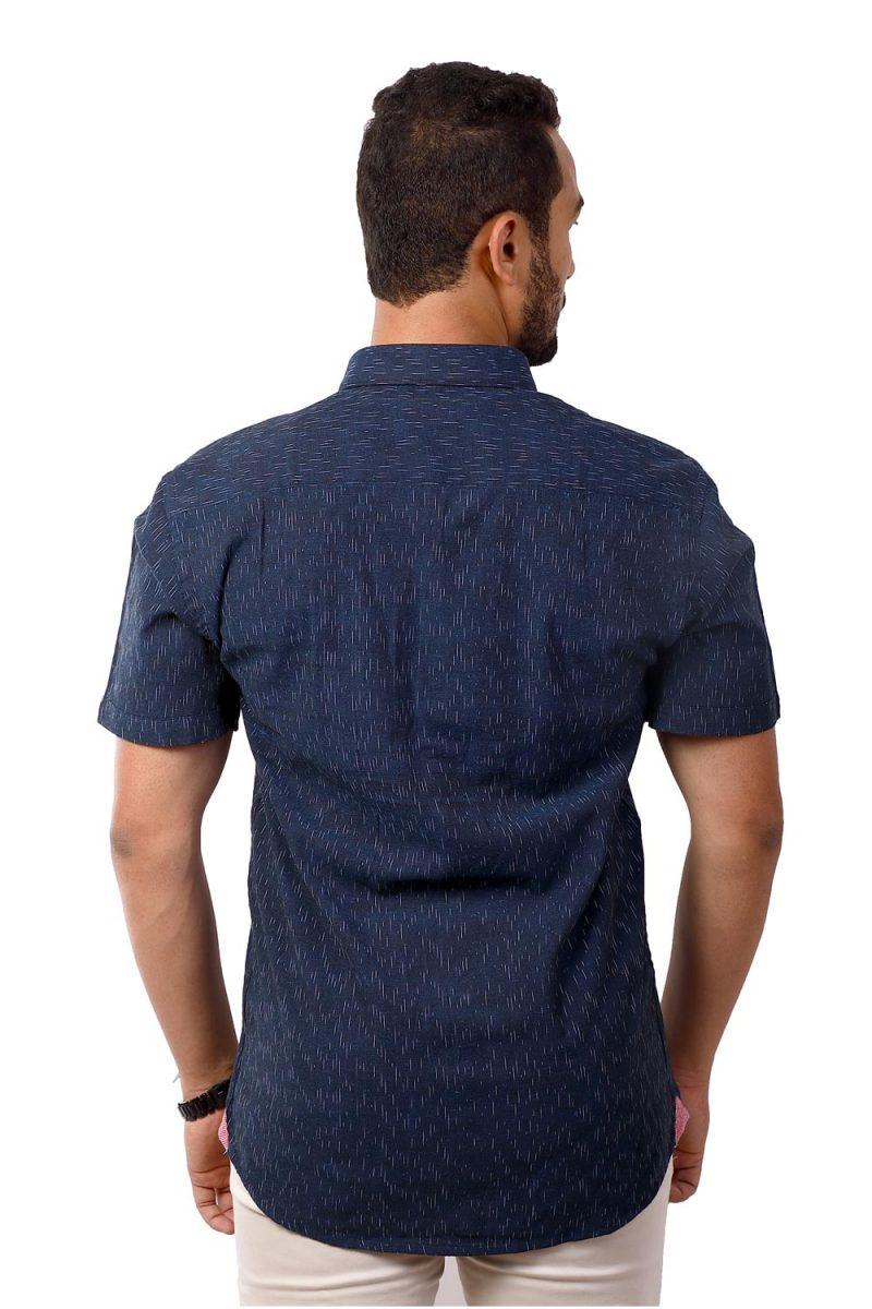 EARTHLIKE MSH Ikat Indigo Dashed Half Shirt