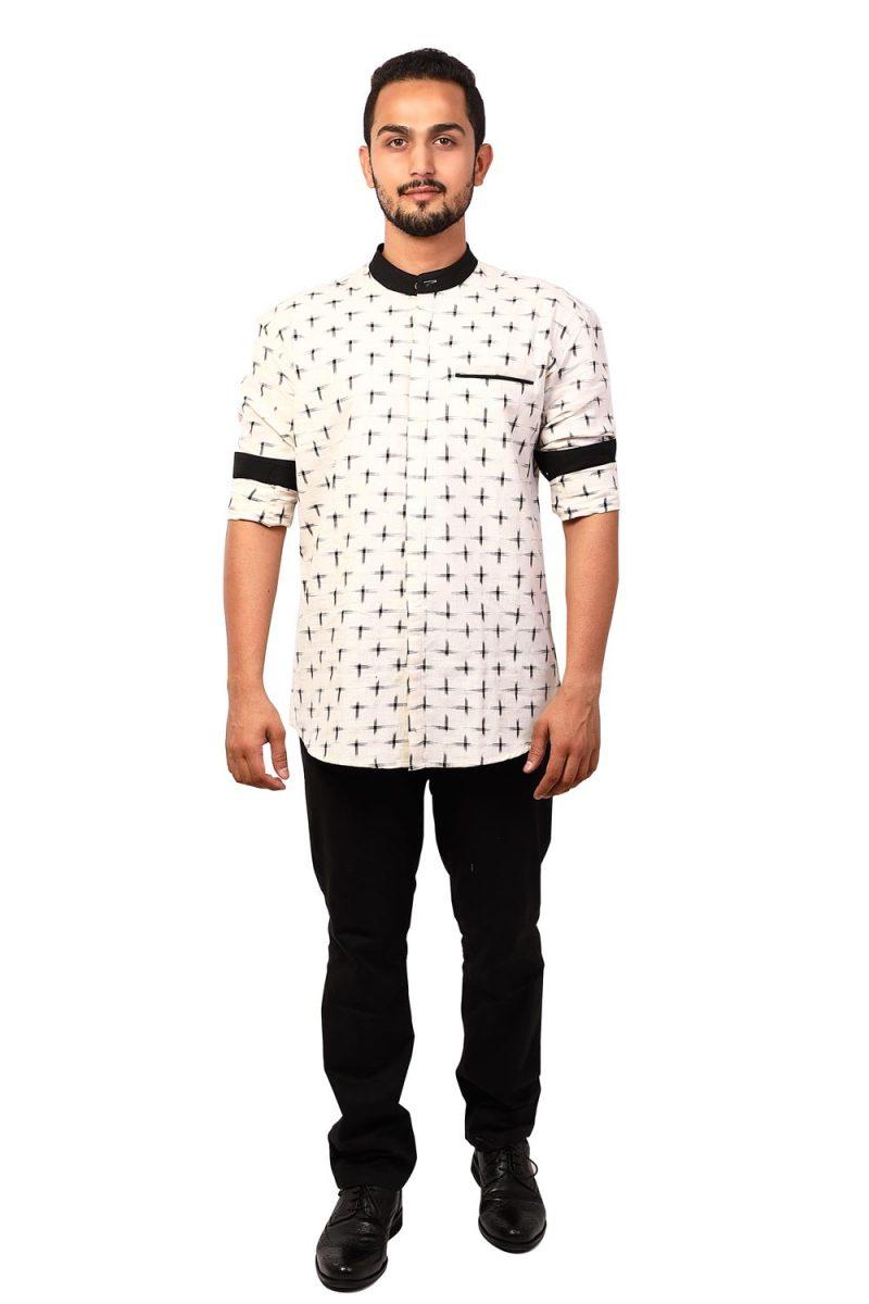 EARTHLIKE MSH Ikat White Cross Full Shirt